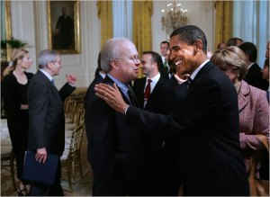 With Senator Barack Obama, in January 2005, when Mr. Obama and other newly elected members of Congress attended a reception in their honor in the East Room of the White House.