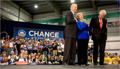 Senator Joseph R. Biden Jr. was joined at an appearance on Sunday in Scranton, Pa., by Bill and Hillary Rodham Clinton.
