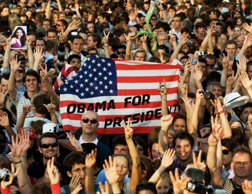 The crowd erupts moments after US Democratic presidential hopeful Barack Obama delivers a speech at the Victory Column at Tiergaten Park, July 24, 2008, in Berlin, Germany. Obama warned America could not quell violence in Afghanistan alone, and called on Europe for more troops and funding to defeat the Taliban and Al-Qaeda.
