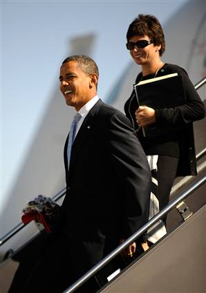 President-elect Barack Obama and senior adviser Valerie Jarrett, who will have a desk near the Oval Office, during a pre-election stop on Sept. 29.