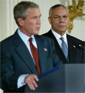 UNHAPPY TOGETHER President Bush and Colin Powell had a strained relationship. Enlarge+