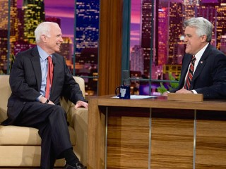 John McCain joked with Leno Tuesday that his defeat was the media's fault.