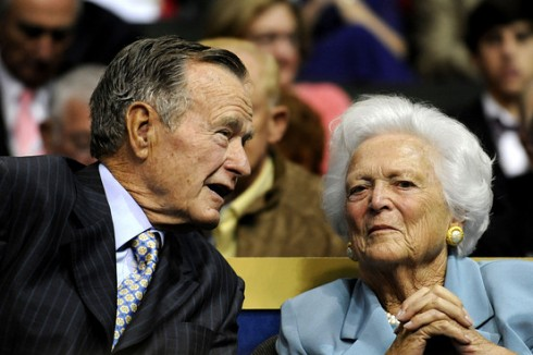 In this Sept. 2, 2008 file photo, former U.S. President George H.W. Bush, left, and former first lady Barbara Bush are seen at the Republican National Convention in St. Paul, Minn