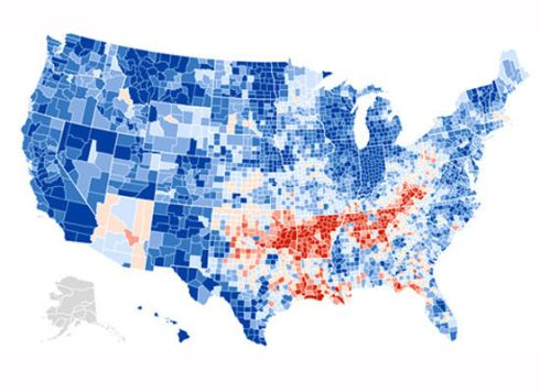 Blue areas show Democrat gains.