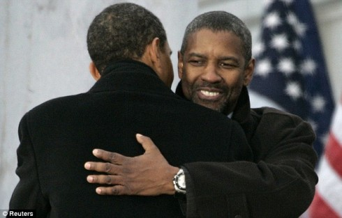 Mr Obama embraces Oscar-winning actor Denzel Washington